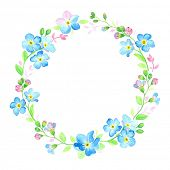 Watercolor wreath with forget-me-not.