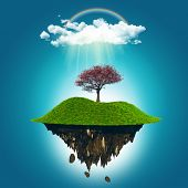 3D render of a floating island with a cherry tree under a rainbow and rain cloud