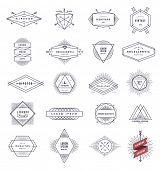 Set of hipster line emblems and signs with sunburst - vector illustration