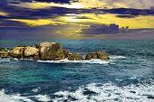 Beautiful sunset in the sea