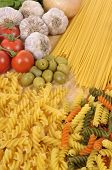 picture of spaghetti  - Selection of Italian spaghetti and pasta with garlic and olives - JPG