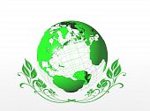 Green earth globe icon