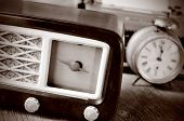 stock photo of transistor  - an antique radio receptor and some other antiques - JPG
