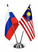 Russia and Malaysia - Miniature Flags.