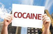 stock photo of meth  - Cocaine card with a urban background - JPG