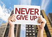 Never Give Up card with urban background