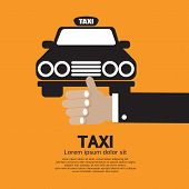 stock photo of cabs  - Flag Down A Cab Vector Illustration - JPG