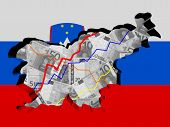 Slovenia map with flag and graphs on Euros illustration