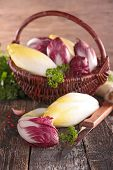 picture of chicory  - fresh chicory on basket - JPG