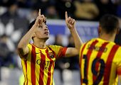 BARCELONA - FEB, 1: Munir El Haddadi of FC Barcelona B celebrates goal during a Spanish League match against CE Sabadell at the Nova Creu Alta on February 1, 2015 in Sabadell, Spain