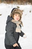 Beauty Toddler Boy In The Snow