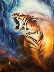 foto of cosmic  - A beautiful airbrush painting of a roaring tiger on a abstract cosmical background - JPG