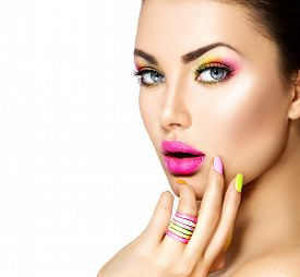 stock photo of colore  - Beauty Girl Portrait with Colorful Makeup - JPG