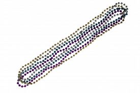 picture of debauchery  - Shiny gold purple blue and silver Mardi Gras beads on white background - JPG