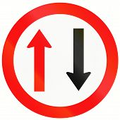 stock photo of traffic rules  - Indonesian traffic sign indicating that oncoming traffic has priority - JPG