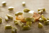 picture of antipasto  - Close up of one antipasto with cheese and olive  - JPG