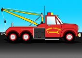 stock photo of towing  - A red tow truck on the road  - JPG