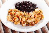 picture of wild turkey  - Turkey with capers and raisins over wild rice - JPG