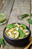 picture of millet  - zucchini millet mint pumpkin seeds goat cheese salad with coriander dressing - JPG