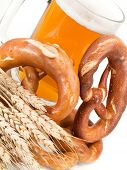 stock photo of pretzels  - Pretzels and beer isolated on white background - JPG