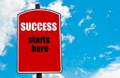 stock photo of start over  - Success Starts Here motivational quote written on red road sign isolated over clear blue sky background - JPG