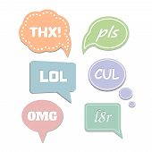 Постер, плакат: Simple abbreviations speech bubbles LOL and THX OMG pls Vector illustration