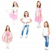 stock photo of little girls photo-models  - Collection of photos adorable little girl posing isolated on a white - JPG