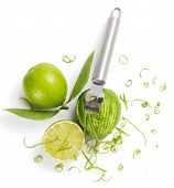 pic of lime  - Top view of lime with leaves lime zest with zester isolated on a white background - JPG