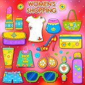 stock photo of deo  - illustration of shopping concept in Indian kitsch style - JPG