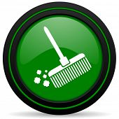 picture of broom  - broom green icon clean sign