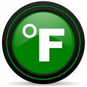 foto of fahrenheit thermometer  - fahrenheit green icon temperature unit sign - JPG