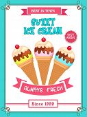 stock photo of flavor  - Beautiful vintage menu card design for sweet Ice Cream with different flavours - JPG
