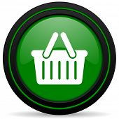 stock photo of cart  - cart green icon shopping cart symbol