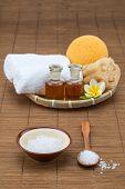 image of bath sponge  - spa bath salt bowl spoon towel sponge essential oil and flower for spa health - JPG