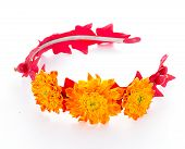 picture of tiara  - tiara of artificial flowers isolated on white background - JPG