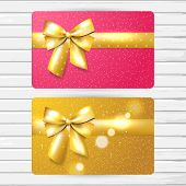 image of girly  - Two vector bright gift card templates girly pink and gold color cards with shiny golden bow and 