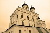 picture of trinity  - Famous Trinity cathedral in Pskov Russia in sepia tone - JPG