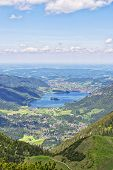 stock photo of bavaria  - View from summit Jaegerkamp to Schliersee in the Alps in Bavaria Germany - JPG