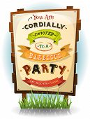 picture of bbq party  - Illustration of a cartoon funny bbq party invitation for fourth of july national holiday celebration on wood billboard with paper sign - JPG