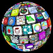 image of spherical  - Many application tiles in a spherical pattern representing a world of available apps - JPG