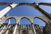 stock photo of carmelite  - The central nave of the Convento do Carmo in Lisbon - JPG