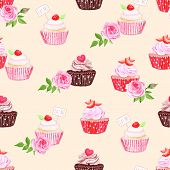 pic of eat me  - Chocolate and strawberry cupcakes beige seamless vector print - JPG