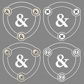 image of ampersand  - Set of four flat icons and ampersand - JPG