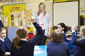 picture of 11 year old  - Teacher Teaching Lesson To Elementary School Pupils - JPG