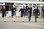 image of playground school  - Group Of Elementary School Pupils Running In Playground - JPG