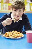 foto of school lunch  - Male Pupil Eating Unhealthy School Lunch - JPG