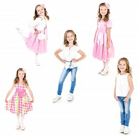 foto of little girls photo-models  - Collection of photos adorable little girl posing isolated on a white - JPG