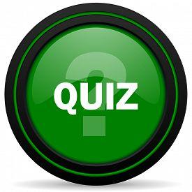 picture of quiz  - quiz green icon  - JPG