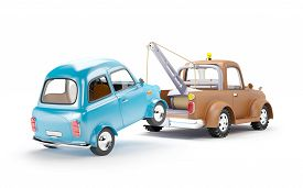 foto of towing  - old cartoon tow truck with car on white background - JPG