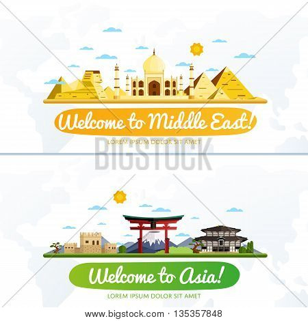 poster of Welcome to Middle East and Asia travel flat vector illustration. Journey around the world. World traveling concept. Middle East travel and Asia travel banners. Worldwide discover. Travel concept. World travel background. Travel banners. Time to Travel